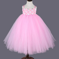 Rose Wedding Flower Girl Dresses Pink Princess Party Costume Kids Girls Pageant Birthday Bridesmaid Evening Gowns Tutu Dress