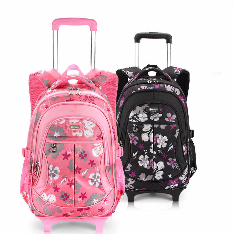Removable Children School Bags with 2 Wheels for Girls Boys Trolley Backpack Kids Wheeled Bag Bookbag travel luggage Rucksack