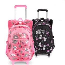 Rimovibile Per Bambini Borse da Scuola con 2 Ruote per le Ragazze Dei Ragazzi Zaino Trolley Bambini Trolley Bookbag viaggio dei bagagli Zaino