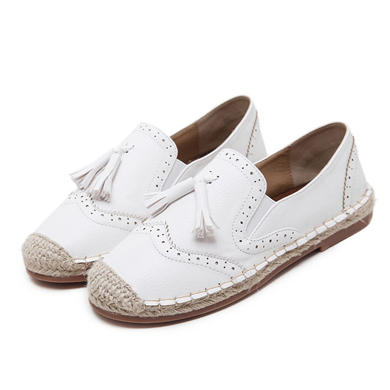 2017 Woman PU Leather Loafers Ladies Tassels Shoes Flats Footwear Loafers Slip On Women's Flat Shoes Moccasins Mother Plus Size women ladies flats vintage pu leather loafers pointed toe silver metal design