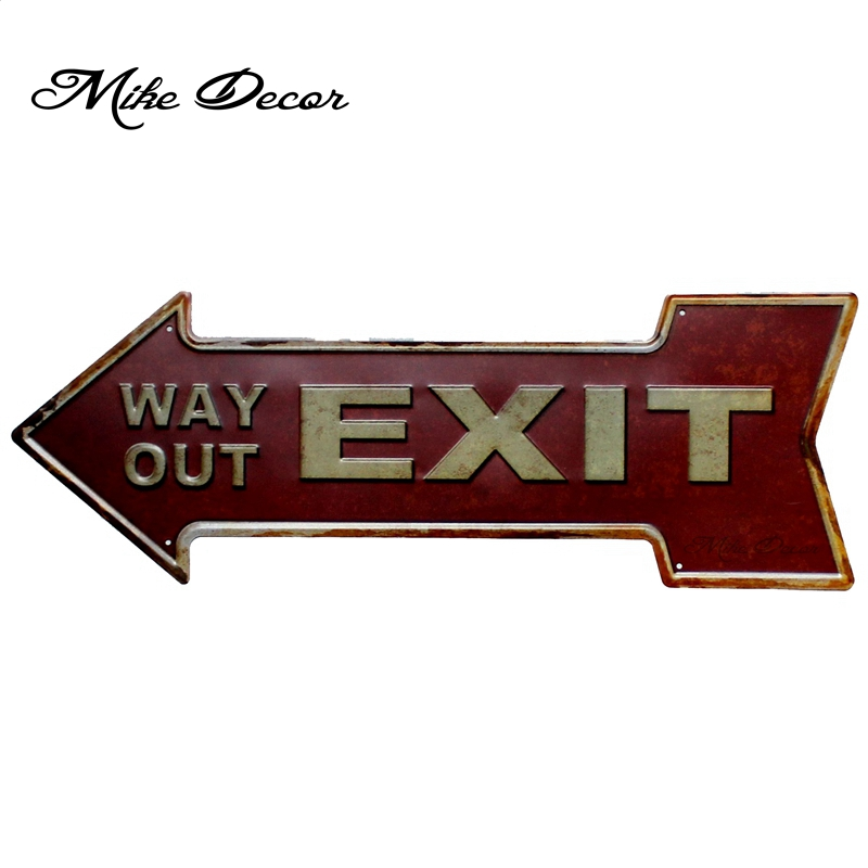 [ Mike Decor ] WAY OUT EXIT Vintage Classic Arrow painting Retro Gift Craft Irregular sign Bar decor YC-613 Mix order