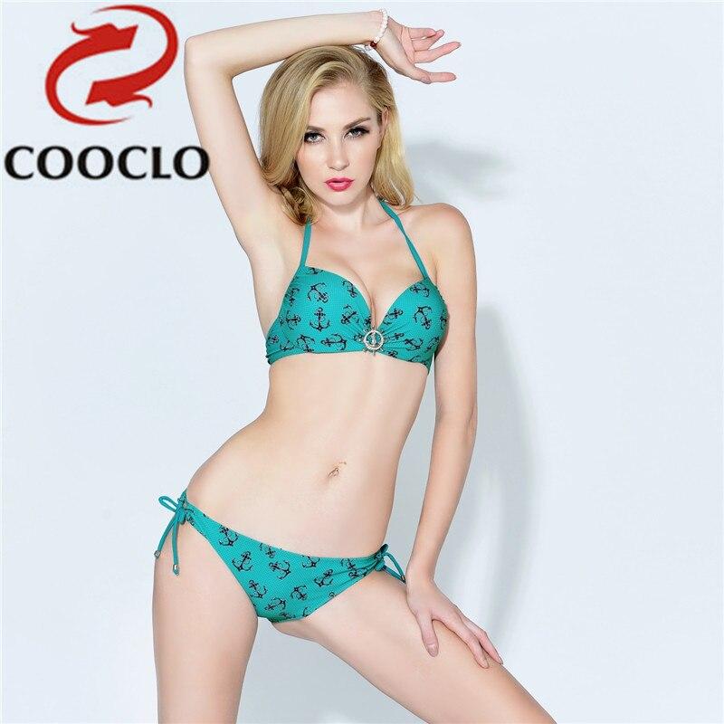 COOCLO 2019 Print Padded Bra Push Up Sexy Swimwear Women Bikini Set Swimsuit  Bathing Suit Tie Side Bottom Retro Beach Swim Wear f0df11625cf9