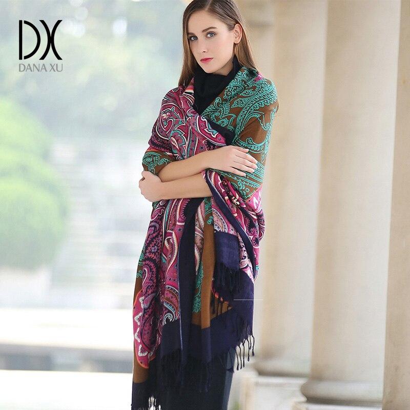 DANA XU Winter luxury Brand Plaid Cashmere <font><b>Scarf</b></font> Women Oversized Blanket Wrap Long Wool <font><b>Scarf</b></font> Women Pashmina Shawls and <font><b>Scarves</b></font>