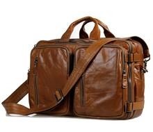 2016 Promotion Genuine Leather Men Bags Multifunctional Men's Briefcase Crossbody Shoulder Handbag Messenger Large Travel Pack