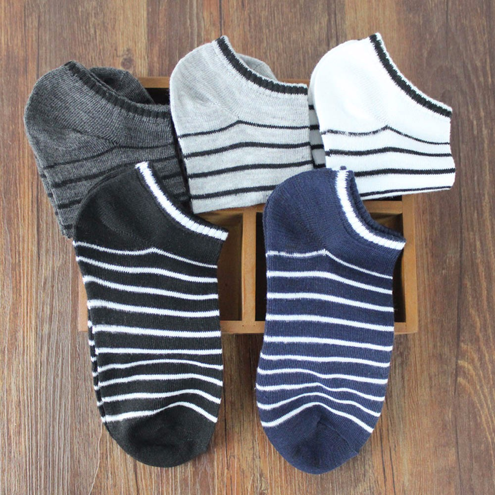 1Pairs Women And Men Comfortable Stripe Cotton Sock Slippers Short Ankle socks men