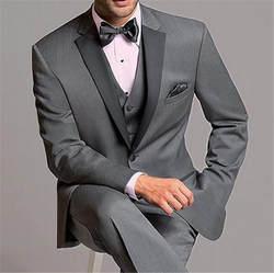 Новое поступление серый мужской костюм 3 предмета в комплекте Terno заказ тонкий Нотч свадебные Жених индивидуальный заказ блейзер (куртк