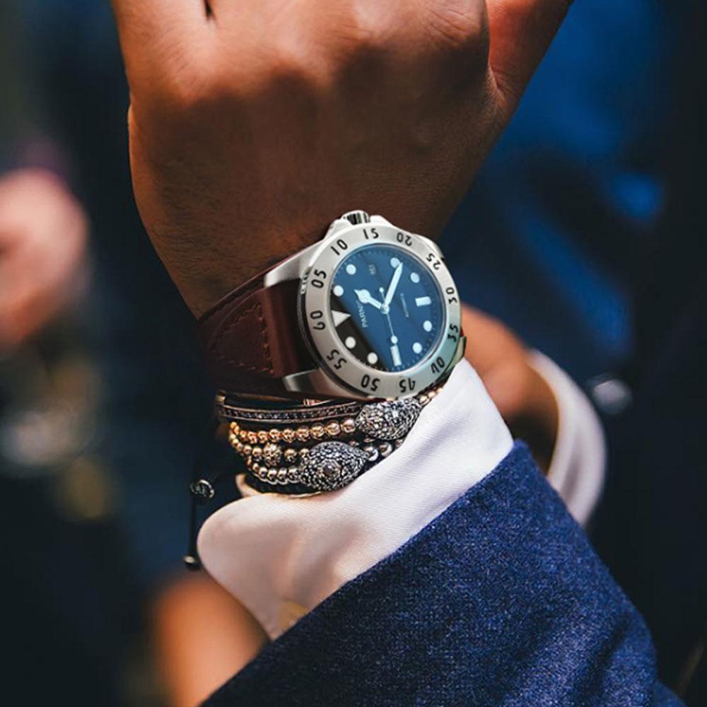 43mm Parnis Black White Dial นาฬิกาผู้ชายอัตโนมัตินาฬิกาคริสตัลแซฟไฟร์นาฬิกา Mens ปัจจุบัน-ใน นาฬิกาข้อมือกลไก จาก นาฬิกาข้อมือ บน   1