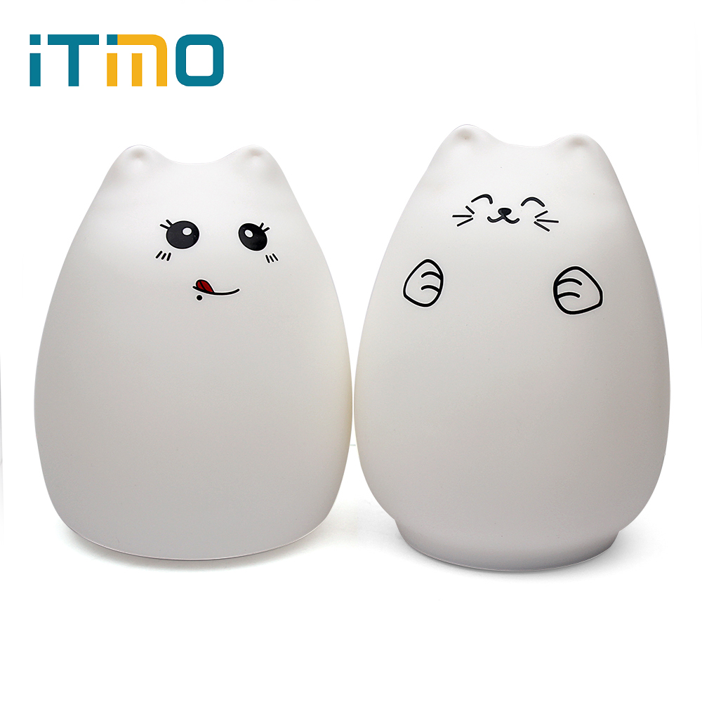Home Decoration Multicolor Sensitive Tap Control Christmas Gift Indoor Lighting Silicone Cute Cat Night Light Creative Lamp mipow btl300 creative led light bluetooth aromatherapy flameless candle voice control lamp holiday party decoration gift