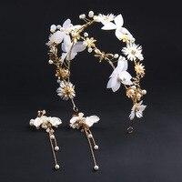 특별 잠자리 헤어 밴드 신부 머리 복고풍 흰색 꽃 황금 후프
