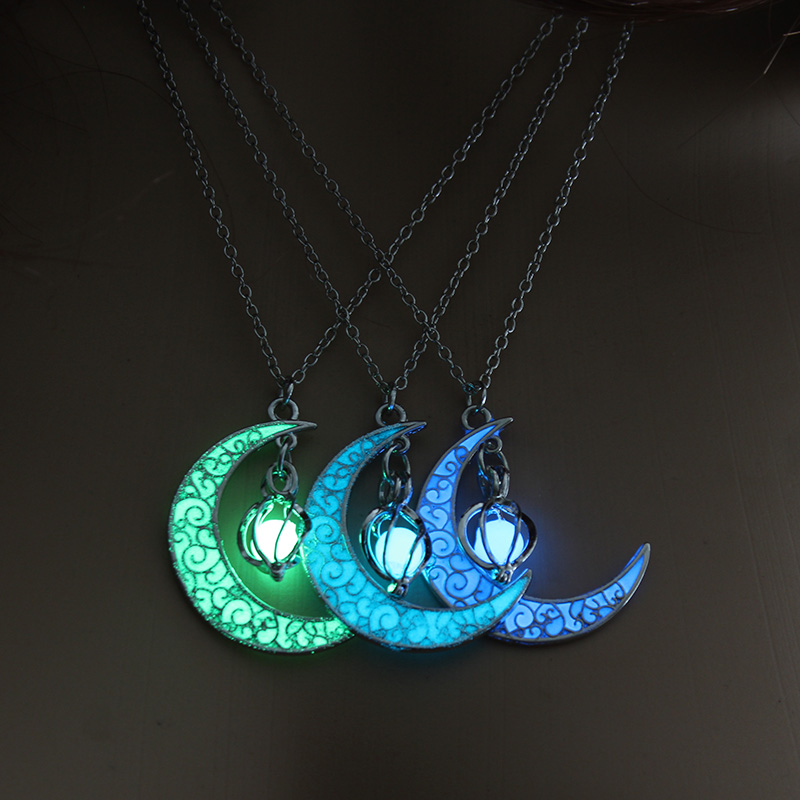 Moon Glowing Necklace Gem Charm Jewelry Silver