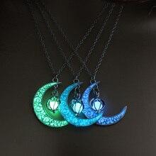 Светящееся ожерелье, подвеска с драгоценным камнем, ювелирное изделие, Посеребренная женская подвеска для Хэллоуина, полый светящийся камень, подвеска, ожерелье, подарки