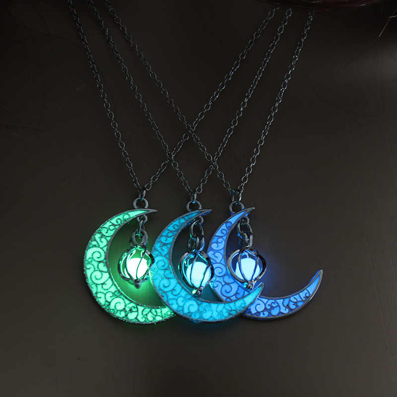 2019 Moon Glowing Necklace Gem Charm Jewelry Silver Plated Women Halloween Pendant Hollow Luminous Stone Pendant Necklace Gifts