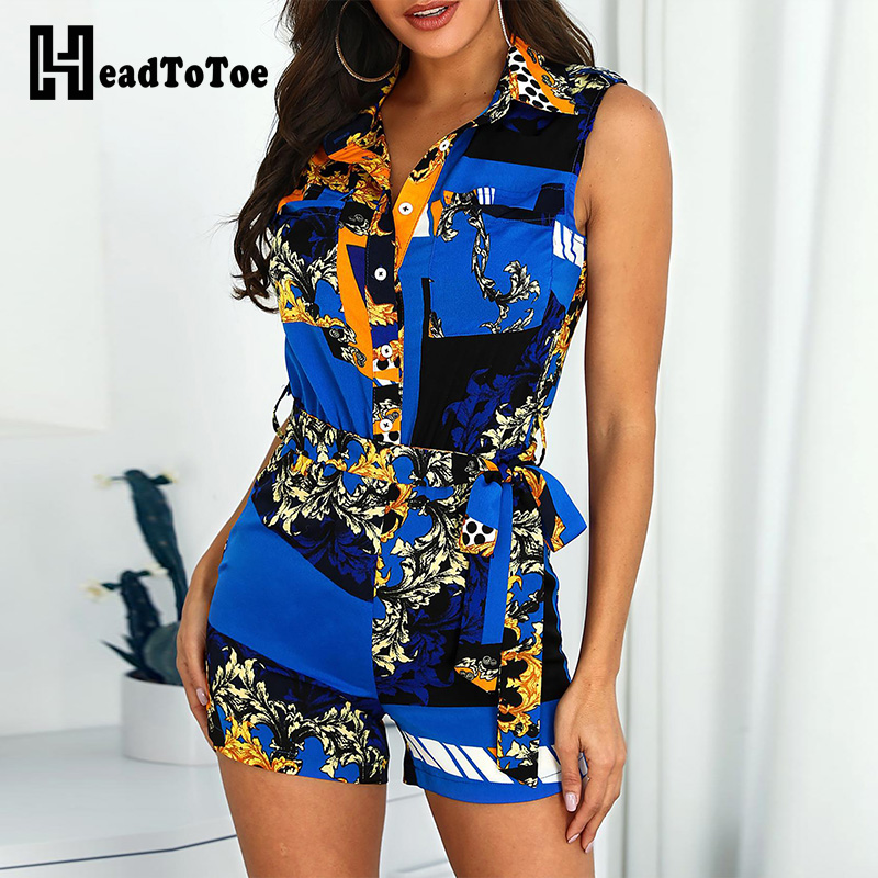 2019 Women Mixed Print Turn Down Collar Playsuits Ladies Sexy Sleeveless Tied Waist Romper Summer Casual Short Jumpsuits