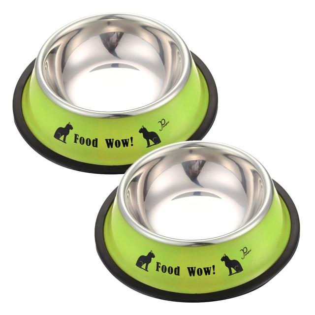 Dog Bowl Cat Bowl Mini Stainless Steel Anti-skid Food Water Dishes Feeder Pet Feeding Bowl Feeding Tool Blue Anti-skid For Pet