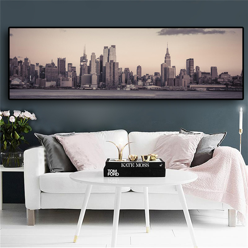 Manhattan Empire State Constructing New York Metropolis Panorama Canvas Artwork Posters And Prints Scandinavian Wall Image For Dwelling Room