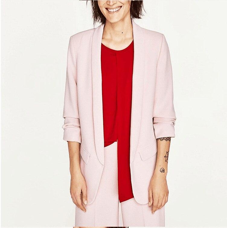 2017 Herbst Frauen Elegante Soild Farbe Silm Fit Blazer Schal Kragen Gefaltetes Hülse Mit Drei Vierteln Büro Anzug High Street Style Farben Sind AuffäLlig