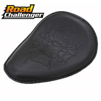 Motorcycle Brown/balck Skull Leather Solo Seat for Harley Dyna Sportster 883 1200 XL Custom Bobber Chopper