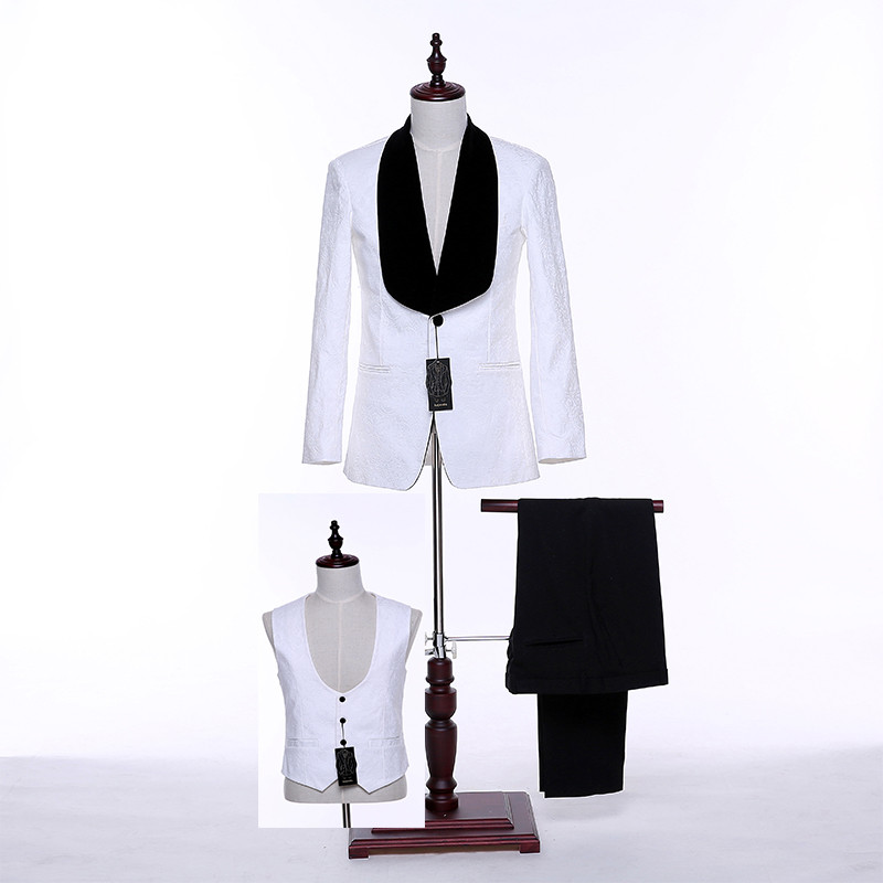 New Design White Floral Groomsmen Shawl Lapel Groom Tuxedos Mens Classic Suits Wedding Formal Best Man Blazer Jacket+Pants+Vest
