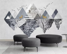beibehang Custom large 3d wallpaper modern minimalistic abstract geometric triangle elk bird TV background wall