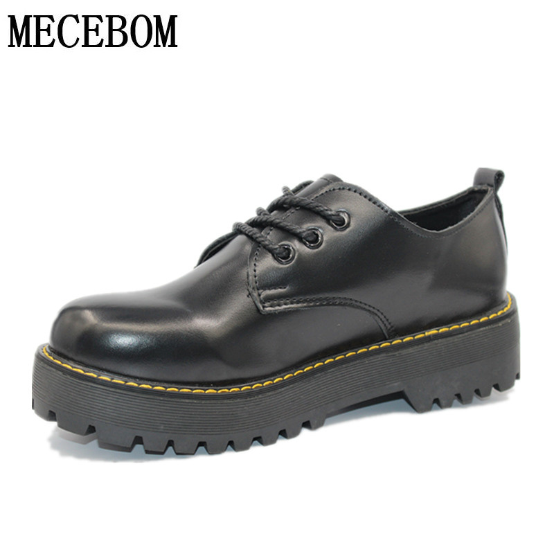 British Style Women Oxfords Spring Winter Lace-Up Flats Round Toe Creepers Casual Ladies Platform Shoes Woman 1513W oxfords male round toe lace up men black and white dress shoes big size flats british style brogue wingtip fashion spring