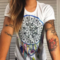 2016 de moda de verano de estilo harajuku mujeres blanco casual boho bohemia impresión de manga corta camiseta tee camiseta camisetas mujer tops