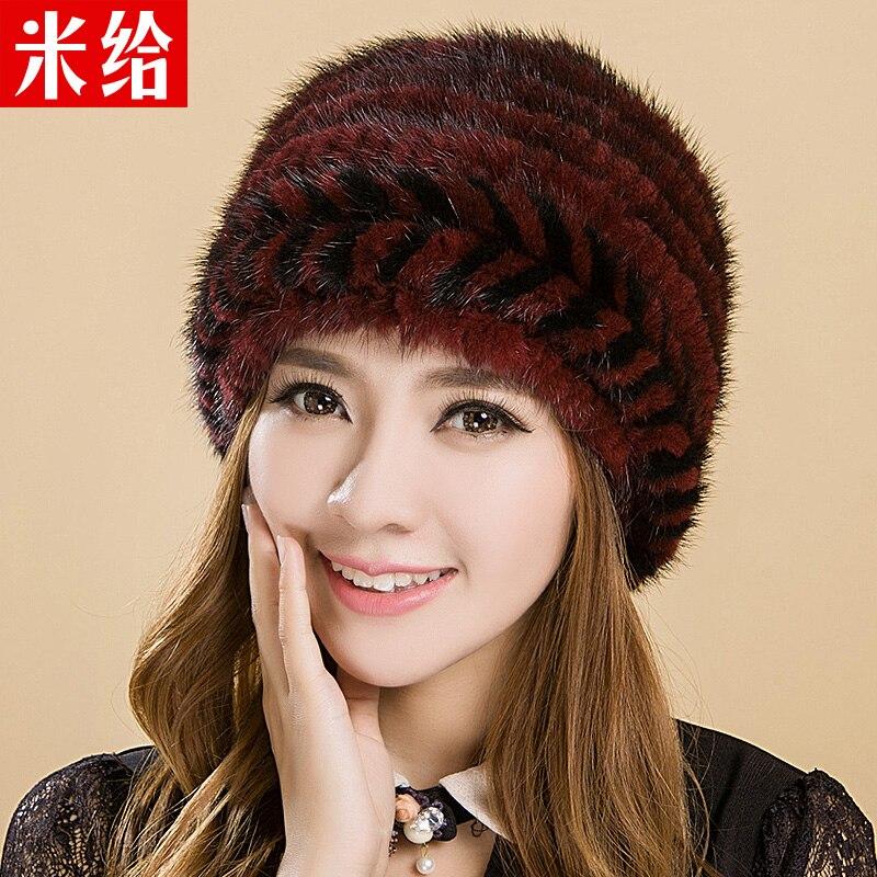 Mink fur natural hat marten women's winter hat thermal thickening earmuffs knitted cap the elderly
