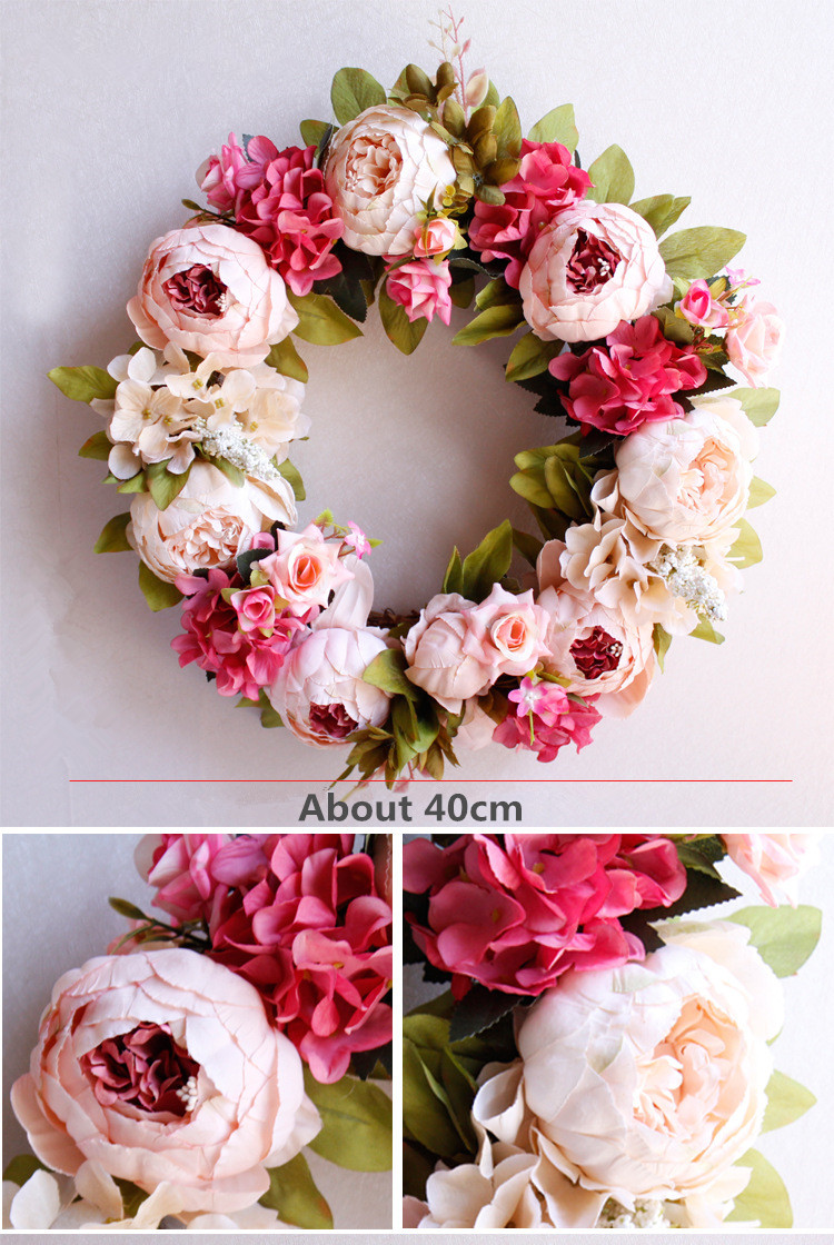 Flone Artificial Peony Wreaths Silk Flower Simulation Flowers Wreaths Door Ornaments Garland Wedding Home Party Decorative (1)