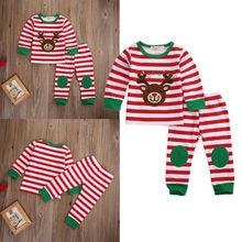 Cute Christmas Clothing Toddler Kids Baby Girl Boy Deer Striped Pajamas Sleepwear Nightwear Kids Baby Winter Clothes Set