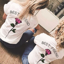 Showtly   BEST FRIEND  Letter And More Colors Rose  Print   Girlfriend Tee Tops Casual Cotton  Short Sleeve floral letter print tee