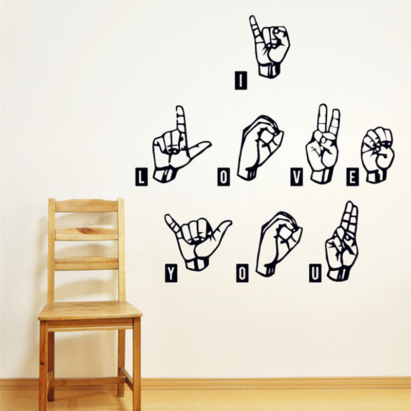 2016 New Design I Love You - Sign Language Wall Decals Warm Words And Gestures Wall Stickers Home Decor