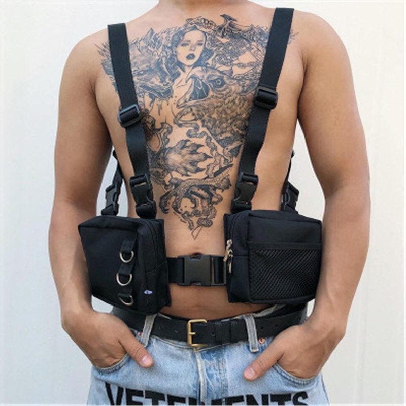 Men Tactical Harness Chest Street Style Waist Bag Unisex Vest Bag Hip-Hop Oxford Two Pockets Fanny Pack Kanye Shoulder Bag