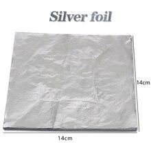 Good Aluminum leaves- Imitation silver Leaf Foil Sheets ,100 Leaves - 14 x cm For Gilding Art Work-Decoration material