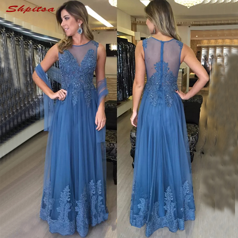 Blue Lace Mother Of The Bride Dresses For Weddings Beaded A Line Evening Gowns Groom Godmother Dinner Dresses 2018