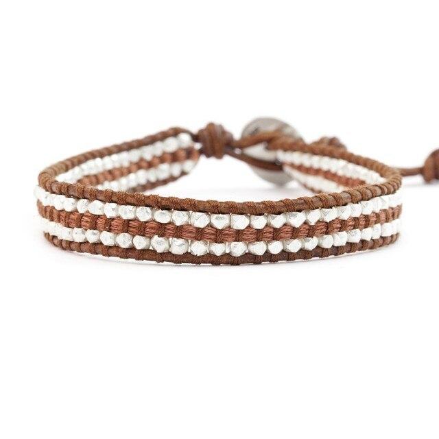 2017 серебряные самородки кожаный браслет обруча лето ювелирные изделия