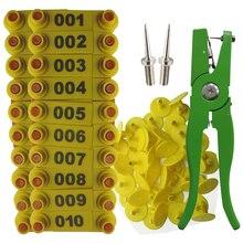Etiqueta de oreja, aplicador de marcador de oveja 001 100 etiquetas de oreja para Kit de identificación de cabra Tagger de oreja con 2pcs Pins alicates de etiqueta de oreja