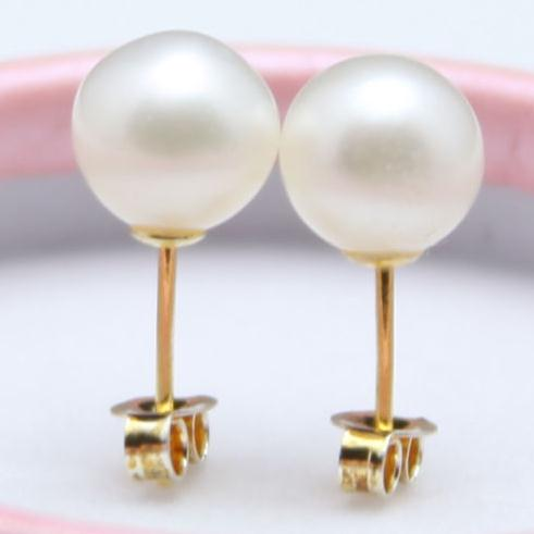 Perfect Cultured Pearl Jewelry AAA 7 8MM White Color Round Freshwater Pearl Earrings