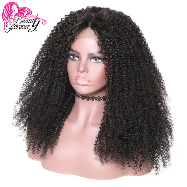 f4fa49759 BeautyForever Malaysian Kinky Curly 360 Lace Front Wigs Half Hand Tied 150% Density  Remy Human Hair Natural Color 10-24inch