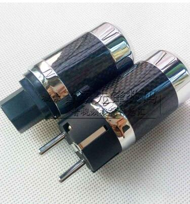 цена на 2pcs Carbon fiber rhodium plated European power plug, Euro carbon carbon fiber rhodium plated power head