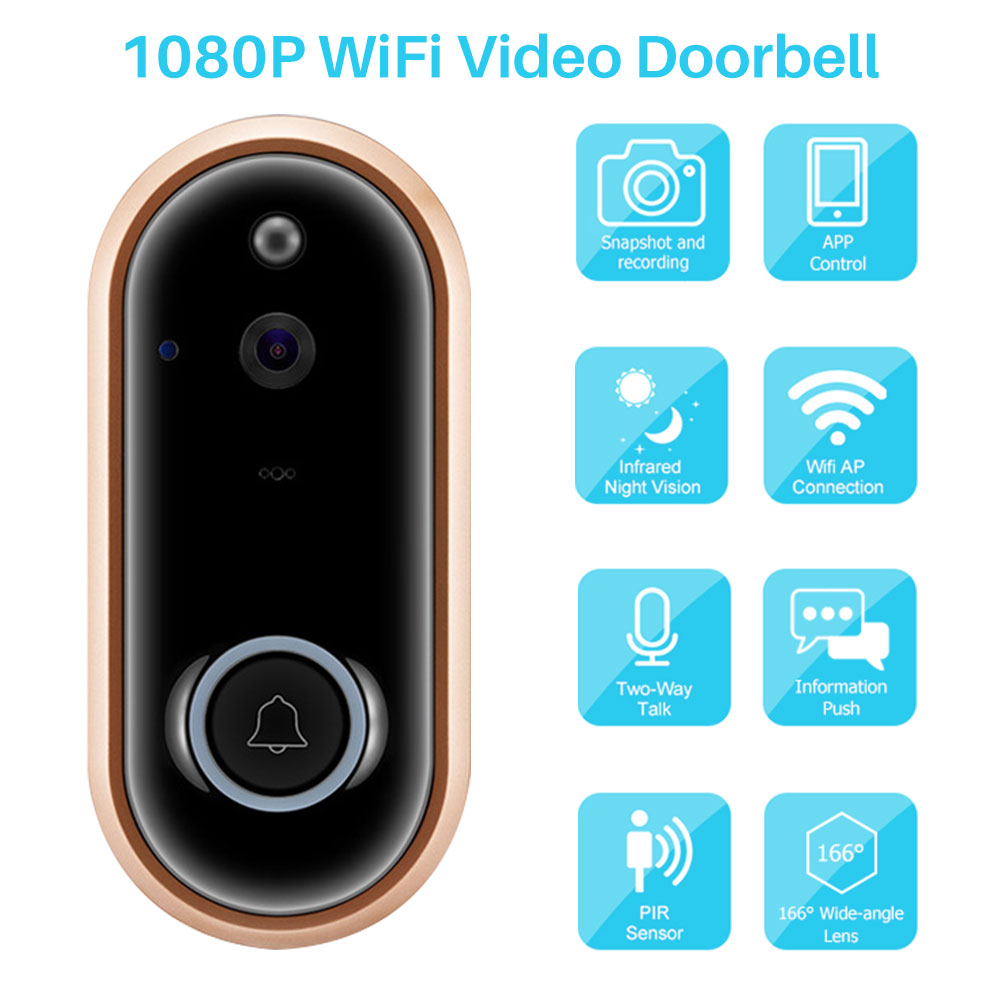 Wireless WiFi Video Doorbell Camera 1080P Two-Way Video Intercom Remote Visual Recording Smart Home Security Monitor