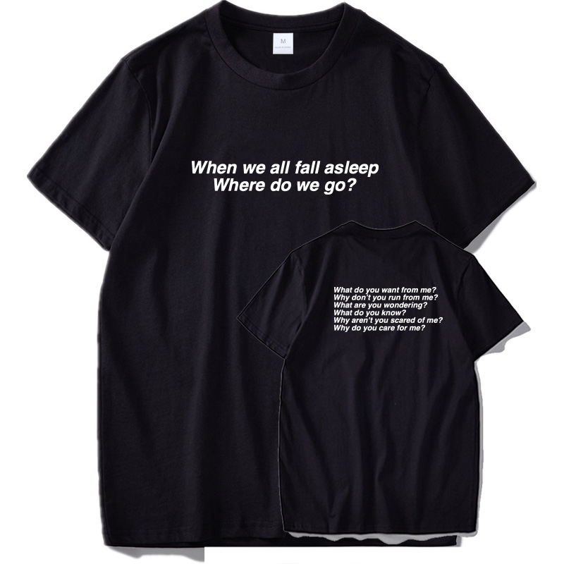 Billie Eilish   T     shirt   New Album   Shirts   When We All Fall Asleep Where Do We Go Short Sleeve EU Size 100% Cotton Male Tees