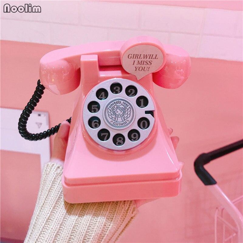 NOOLIM Retro Telephone Piggy Bank Plastic Creative Gift For Kids Home Living Room Wine Cabinet Decorative Ornaments Craft