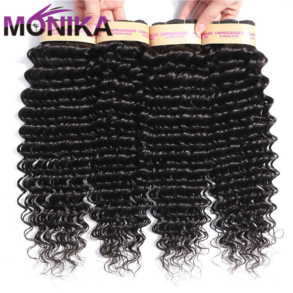 Monika 30 Inch Bundles Peruvian Hair Deep Wave Hair Bundles Remy Hair Bundle Deals 3/ 4 Bundles Human Hair Weave Tissage Naturel