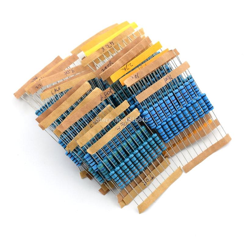 300PCS/LOT 2W Metal Film Resistor Kit 1% Resistor Assorted Kit Set 10 ohm-1M ohm Resistance Pack 30 Values Each 10 pcs