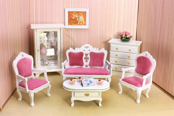 Awesome 1:12 Dollhouse Furniture Model White Red Velvet Royal Wooden Dolls House  Furniture