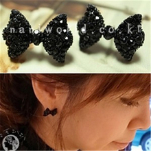2016 Korean jewelry full single black font b earrings b font free shipping fashion butterfly Fangzuan