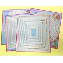4-Set большие режущие штампы с пирсингом Прямоугольник квадратный круг Овальный кардмейкинг и Скрапбукинг DIY трафарет