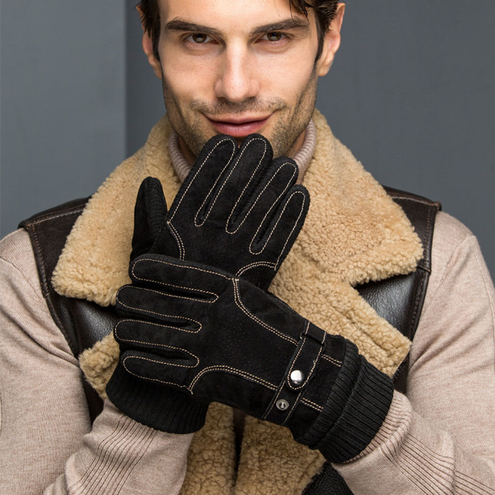 AudWhale Winter Leather Men's Gloves Warm Phone Touch Patchwork Wrist Gloves Men Winter Fashion Male Mittens Mitts