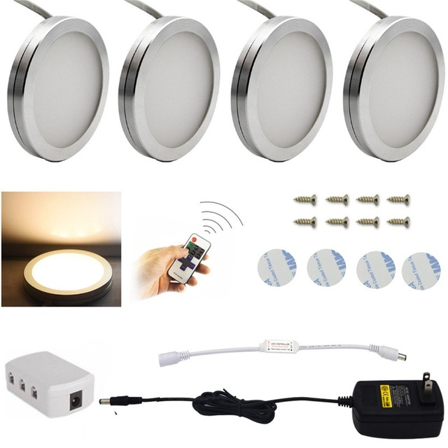 3 4 6 Pcs Under Cabinet Lights 2 5w Led Puck Light 10 Level Remote Control Dimmable Kitchen Counter Bar Lamp Decoration