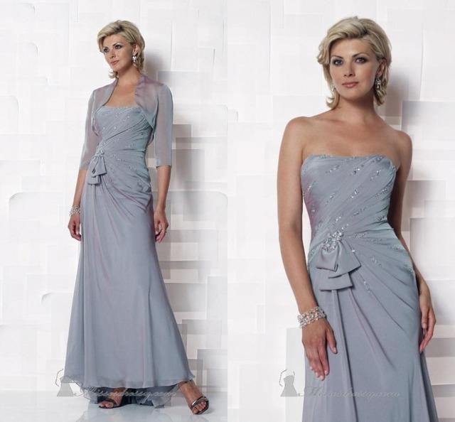 Vestido de madrinha do vintage Formal Strapless Chiffon Mãe das Calças Noiva Ternos Vestidos Mãe Com uma Jaqueta Para O Casamento