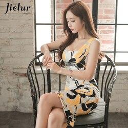 Jielur moda drukowane bez rękawów Midi urocze seksowne kobiety sukienki OL Slim pakiet Hip Sukienka lato plac dekolt w stylu Vintage Sukienka 2